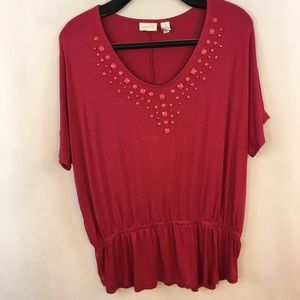 Chico's 1 Tunic Top S Beaded Gathered Waist Pink